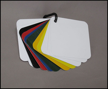 """4"""" X 4"""" SWATCH OF EACH OF THE 5 GAUGE THICKNESS IN .025, .032, .040, .063, .080 AND EACH OF THE 6 COLORS AVAILABLE IN .040  in BLACK, RED, LEMON YELLOW, SAFETY YELLOW, GREEN AND BLUE."""