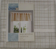 Casual Home Ivory & Tan Tweed  Window Valance Curtain Topper