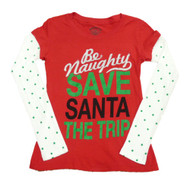 Be Naughty Save Santa The Trip Womens Red Christmas Long Sleeve T-Shirt