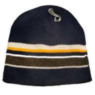 Athletic Works Mens Blue Gray Yellow Stripes Winter Hat Stocking Cap Beanie