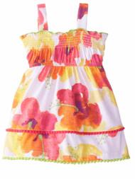 Youngland Infant Girls Orange & Yellow Floral Dress Smocked Sun Dress