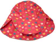Toddler Girls Dark Pink  Sun Hat Colorful Hearts Bucket Hat Fuchsia