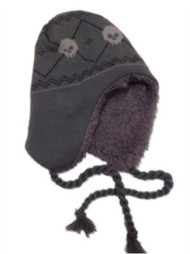 ABC Boys Gray Knit Peruvian Skeleton Trapper Hat aviator