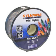 120 Feet Sylvania 500 Mini Mult-Color Christmas Lights with Green Wire