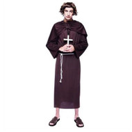 Adult Mens Monk Costume Brown Robe with Sash & Belt