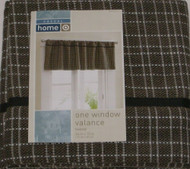 Casual Home Brown & Black Tweed  Window Valance Curtain Topper