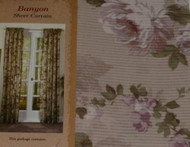 "Arley Banyon Sheer Floral Stripe Window Panel 63"" Curtain"