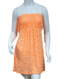 Bongo Junior Womens Orange Swim Suit Cover Up Neon Zebra Strapless Sun Dress