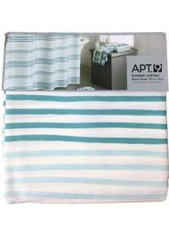Apt 9 Teal Blue Mosaic Stripe Fabric Shower Curtain Pretty Striped Bath