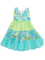 Blueberi Infant Toddler Girls Blue Green Tiered Dress Sun dress