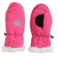 Aquarius Girls Pink Faux Fur Trim Snow & Ski Mittens Fleece & Thinsulate Lining