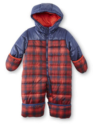 Carters Infant Boys Red Plaid Quilted Snowsuit Baby Pram Snow Suit