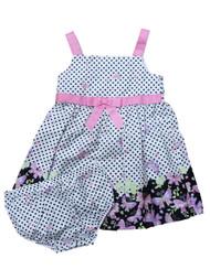 Ashley Ann Infant Girls White & Pink Black Polka Dot Butterfly Dress Sun Dress