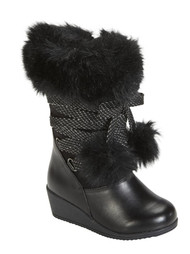 Canyon River Blues Toddler Girls Black Fashion Boots with Faux Fur Trim