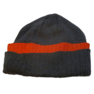 Athletic Works Mens Cuffed Gray & Orange Knit Beanie Winter Hat Stocking Cap