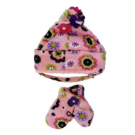 ABG Infant & Toddler Girls Pink Fleece Floral Trapper Hat & Mittens Set
