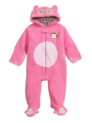 Baby Gear Infant Girls Plush Pink Faux Shearling Monkey Snowsuit Baby Pram