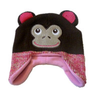 Cozy Creatures Toddler Girls Knit Trapper Style Monkey Hat Fleece Lined