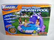 Banzai Happy Hippo Splash Pool Inflatable Toddler Swim Play with Shade Canopy