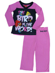 Angry Birds Girls Pink The Bird Is The Word Pajama Top & Bottoms 2PC Sleep Set