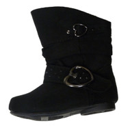 Canyon River Blues Infant & Toddler Girls Black Suede Look Mid-Calf Boots Hearts