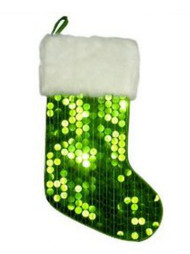 Big Green Sequin Christmas Stocking with Faux Fur Trim