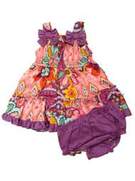 Youngland Infant & Toddler Girls Pink Floral Sequin Ruffled Dress Sundress