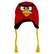 Angry Birds Mens Red & Yellow Bird Knit Peruvian Trapper Hat Fleece Lined
