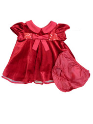 Ashely Ann Infant Girls Red Velvety Sequin Party & Holiday Dress Christmas