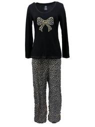 Celestial Dreams Womens Brown & Black Leopard Print Pajamas Fleece Pajama Set