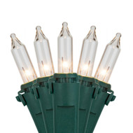 100 Flame Tip Lights Clear with Green Wire Christmas Holiday String Light Set