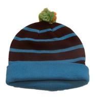 Aquarius Boys Colorful Knit Striped Blue & Brown Beanie Pom Pom Hat Stocking Cap