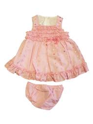 Ashley Ann Infant Girls Lined Pink Gingham Ruffled Dress Sun Dress 3-6 Months
