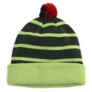 Aquarius Boys Colorful Knit Striped Green Beanie Pom Pom Hat Stocking Cap