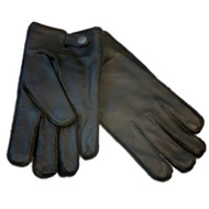 American Living Mens Sleek Black Leather Gloves with Plaid Fleece Lining & Snaps
