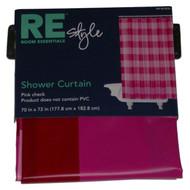 Bath Style Hot Pink Plaid PEVA Vinyl Shower Curtain Pretty Checks