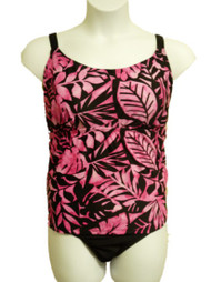 Aqua Couture Womens Pink & Black Tropical 1 Piece Blouson Swimsuit  Size 22