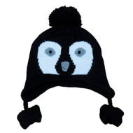 CP Infant Boys & Girls Black Knit Penguin Peruvian Trapper Hat 6-12 Months