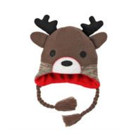 Aquarius Boys Brown Reindeer Peruvian Style Critter Hat Fleece Lined Trapper