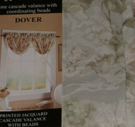 Curtains of Character Dover Green Floral Jacquard Cascade Window Valance Topper