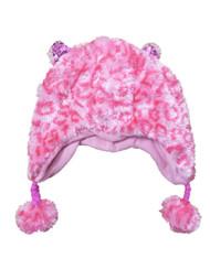 Accessories 22 Girls Fuzzy Pink Leopard Print Trapper Hat Plush Peruvian Beanie