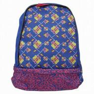 "Blue Floral Damask 17"" Backpack with Laptop Sleeve, School Travel Bag"