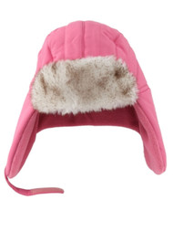 ABC Toddler Girls Light Pink Trapper Hat with Faux Fur Trim Aviator Cap