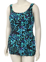 Beach Native Womens Blue Green Leopard Print Swimdress Swim Suit Swim Dress