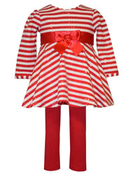 Ashely Ann Infant & Toddler Girls 2PC Red White Striped Shirt & Leggings