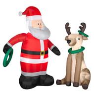 Gemmy Airblown Inflatable Wreath Toss 2 Pack Light Up Santa & Reindeer