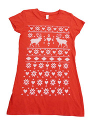 Alstyle Womens Red Reindeer Heart Snowflake Fitted Short Sleeve T-Shirt