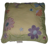 Blossoms & Blooms Yellow Embroidered Flowers Throw Pillow Floral Accent