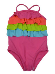 Baby Buns Infant & Toddler Girls 1 Piece Ruffled Pink Swimming Suit