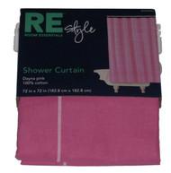 Bath Style Pink Windowpane Plaid Fabric Shower Curtain Casual